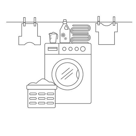 Lavanderia per gli oggetti di lavaggio e asciugatura. Lavanderia con lavatrice, biancheria e servizio lavanderia. Lavanderia nello stile della linea. Illustrazione vettoriale.