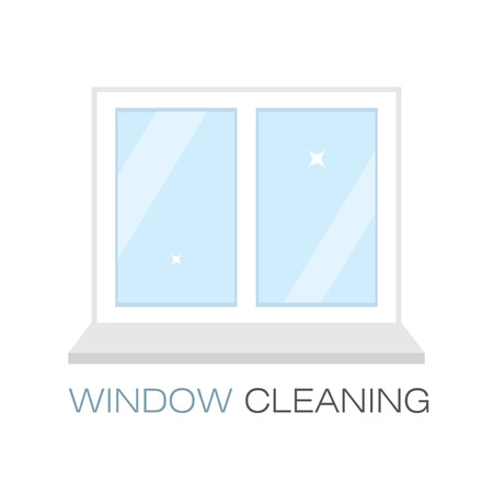 window sill: Net sparkling window sill. Window cleaning. The emblem or logo of the cleaning company. Glittering window in the flat style. Vector illustration.