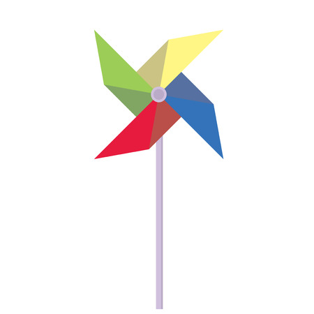 wind mill toy: Pinwheel. Childrens toy rotating in the wind. Pinwheel in a flat style. Vector illustration.