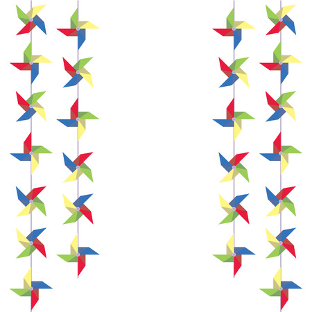 pinwheels: Festive garland of colored paper pinwheels. Vertical festive garland of pinwheels. Bright garland for decoration. Vector illustration. Illustration