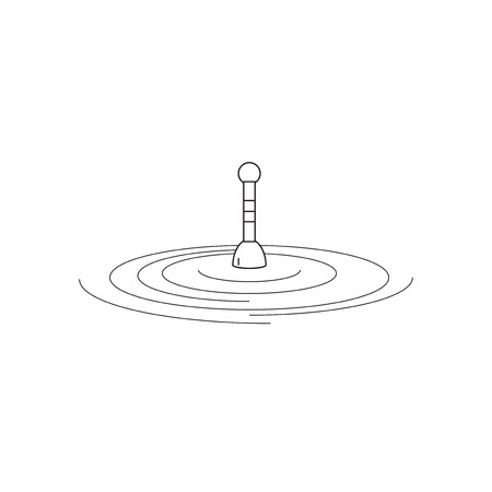 fishing float: Fishing float on water. Fishing float in the style of the line. The logo or emblem of your store or company. Vector illustration.