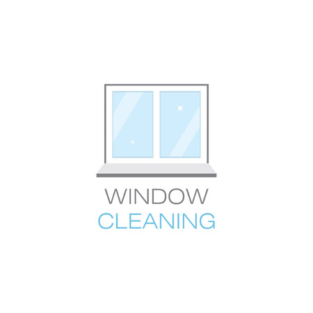 tidiness: Net sparkling window sill. Window cleaning. The emblem or logo of the cleaning company. Glittering window in the flat style. Vector illustration.