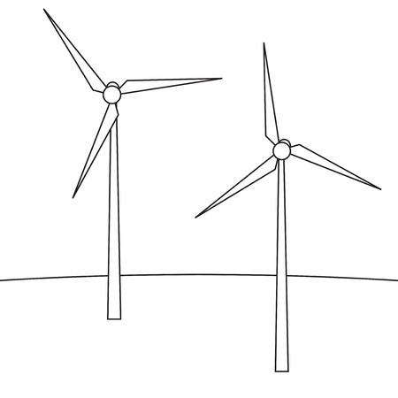 windturbine: Wind turbines. A device for producing electricity. Wind turbines in the style of the line. Vector illustration.