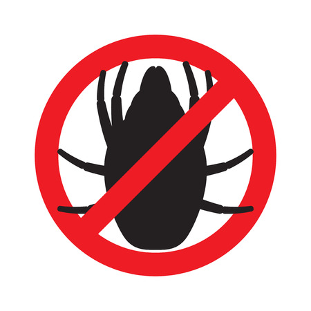 forbidding: The sign forbidding house dust mites. Vector illustration.