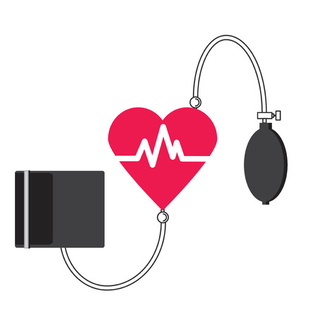 blood supply: Conceptual vector illustration of a medical tonometer heart. A device for measuring blood pressure and pulse. Logo Heart Center.