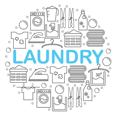 Ikony ustaw pralnia. Okrągły sztandar z ikonami w stylu linii pralni. Ikony pranie umieszczone wewn? Trz ko? A na bia? Ym tle. Ilustracji wektorowych. Ilustracje wektorowe