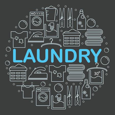Conjunto de iconos de lavandería. Bandera redonda con los iconos en el estilo de una línea de ropa. Iconos de lavandería colocado dentro de un círculo sobre un fondo oscuro. Ilustración del vector.