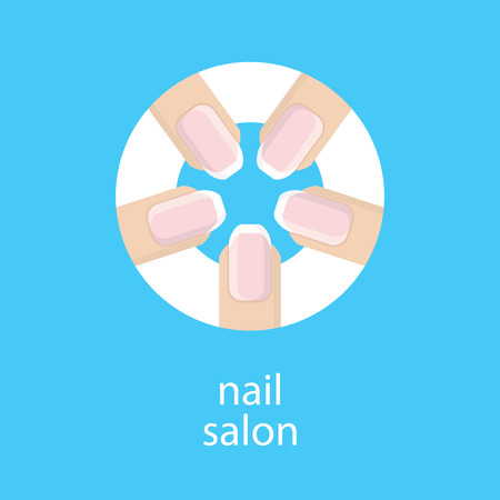 french manicure: Manicure salon. Banner, emblem or logo of your nail salon. The image of five fingers in a circle with a French manicure. Fingers with a manicure on blue background. Vector illustration.