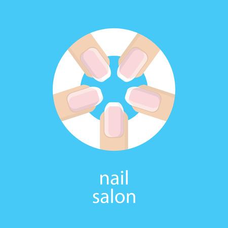manicurist: Manicure salon. Banner, emblem or logo of your nail salon. The image of five fingers in a circle with a French manicure. Fingers with a manicure on blue background. Vector illustration.