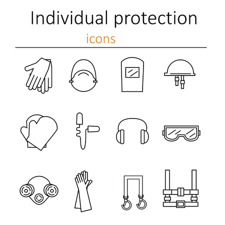 personal protective equipment: Individual protection. Set of icons of personal protective equipment in construction. Protective equipment for eyes, head, ears, hands,  lungs and the body. Body protection and health. Vector illustration.
