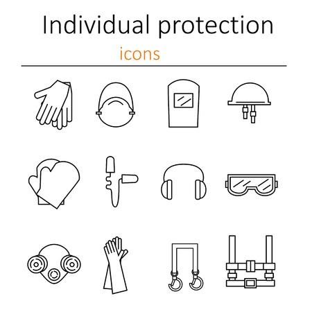 protection individuelle. Ensemble d'icônes de l'équipement de protection personnelle dans la construction. Equipement de protection pour les yeux, la tête, les oreilles, les mains, les poumons et le corps. Protection du corps et de la santé. Vector illustration.