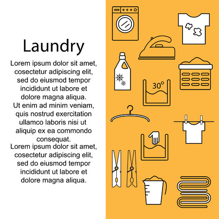 laundry room: Icons laundry. Banner or poster with icons and a laundry room for text. Template for your text with icons laundry. Vector illustration.