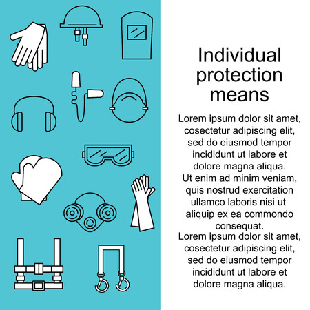 Individual protection. Protective equipment for eyes, head, ears, hands, lungs and the body. Body protection and health. Vector illustration.