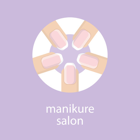 french manicure: Manicure salon. Banner, emblem or logo of your nail salon. The image of five fingers in a circle with a French manicure. Fingers with a manicure on purple background. Vector illustration.