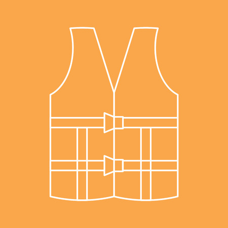 lifejacket: The icon of the lifejacket on an orange background. Vector illustration. Illustration
