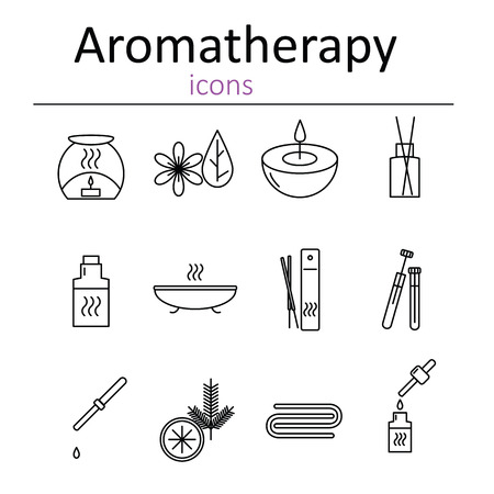 air diffuser: Set of web icons for aromatherapy. Oil burner, Aromatic sticks, aroma oils, candles and other accessories for aromatherapy. Vector illustration.