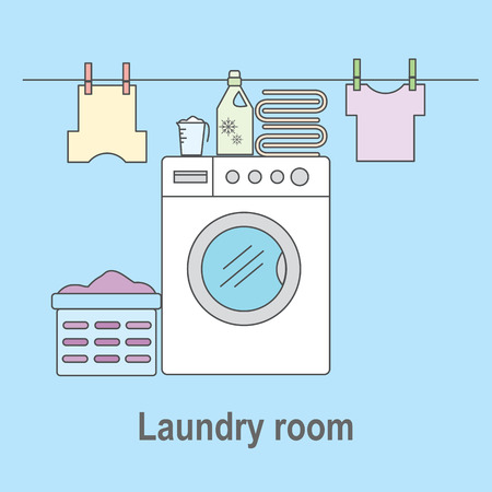 bleach: Laundry room for washing and drying items. Laundry room with washing machine, linens and laundry facilities. Vector illustration.