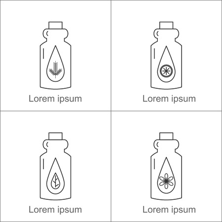 herbaceous: Bottles with essential oils: pine, citrus, floral, herbaceous. Vector illustration. Illustration