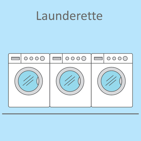 launderette: Launderette . Image of three washing machines on a blue background. Vector illustration.