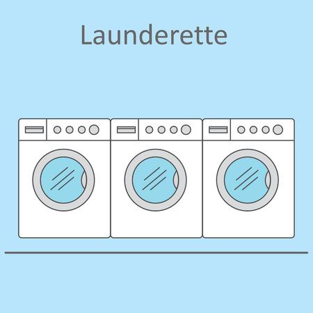 laundrette: Launderette . Image of three washing machines on a blue background. Vector illustration.