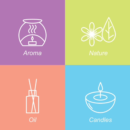 bamboo therapy: Set aromatherapy symbols. The emblem or logo aromatherapy, candles, nature, oil. Vector illustration.