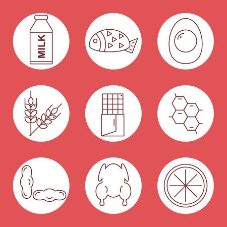 alergenos: Fije los iconos de los al�rgenos alimentarios. Iconos al�rgenos alimentarios en un c�rculo sobre un fondo rojo. Ilustraci�n del vector.