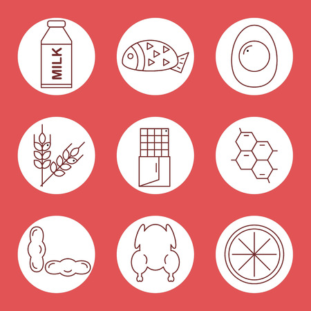 allergens: Set icons of food allergens. Icons food allergens in a circle on a red background. Vector illustration.