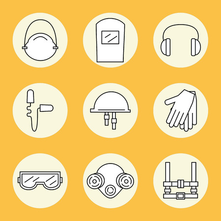 protective: Individual protection. Set of icons of personal protective equipment in construction. Protective equipment for eyes, head, ears, hands,  lungs and the body. Body protection and health. Vector illustration.