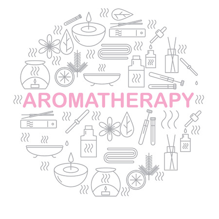 air diffuser: Aromatherapy. Round banner with icons aromatherapy. Icons for relaxation and spa. Vector illustration.