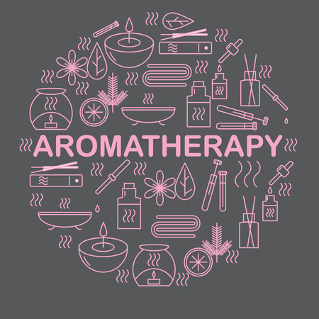 aroma: Aromatherapy. Round banner with icons aromatherapy. Icons for relaxation and spa. Vector illustration.