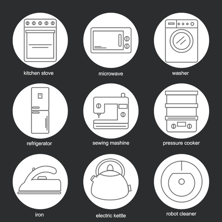 kitchen cleaning: Set of icons of home appliances. Icons appliances for kitchen, cleaning and sewing. Vector illustration.