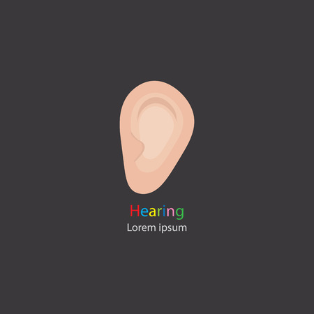 senses: Senses. Hearing. The image of the ear on a dark background.  design hearing. Vector illustration.