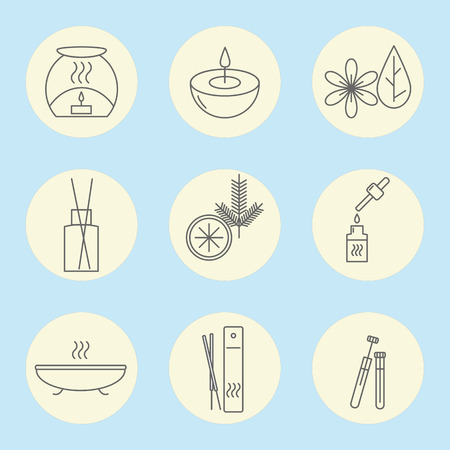 incense: Icon set of aromatherapy on a blue background. Vector illustration.