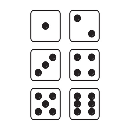 Icon gaming dice. Game cubes top view on white background. Set dice. Vector illustration.