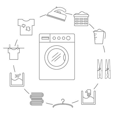 Set van iconen in de stijl van een waslijn. Wasserij pictogrammen in een cirkel. Vector illustratie. Vector Illustratie