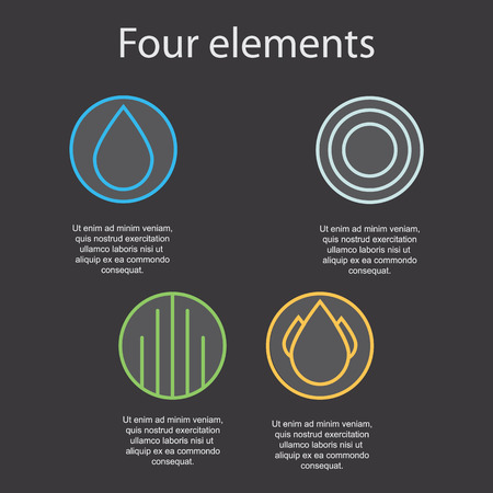four elements: Images of the four elements on a dark background: fire, water, air, earth. Vector illustration.