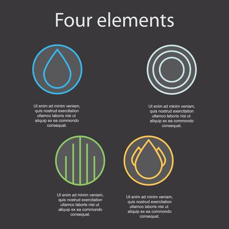 cuatro elementos: Las imágenes de los cuatro elementos en un fondo oscuro: fuego, agua, aire, tierra. Ilustración del vector. Vectores