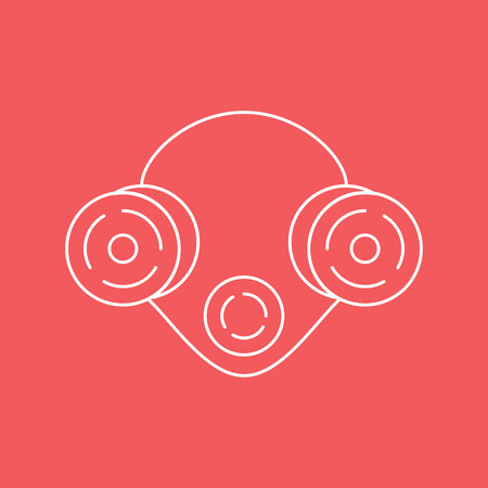 Respirator. Means respiratory protection. Icon in the style of the line. Vector illustration.