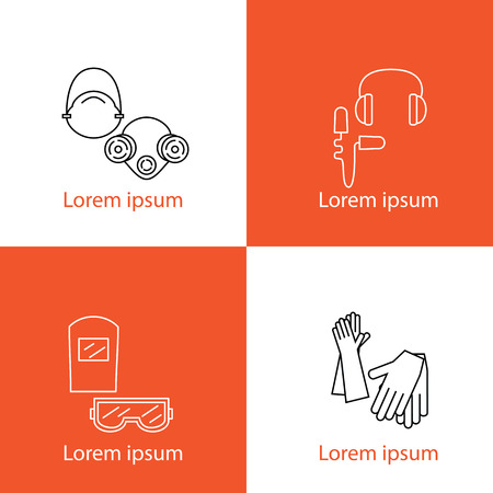 A set of individual protection logos. Eye protection, hearing, breathing, hands. Body protection equipment and human health. Vector illustration.