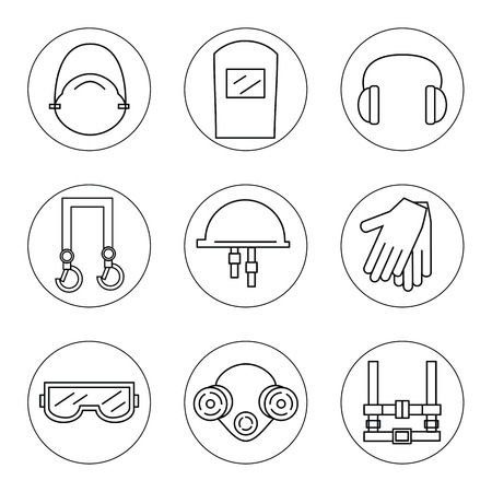 facemask: Set of icons of individual protective equipment in construction. Protective equipment for eyes, head, ears, hands,  lungs and the body. Body protection and health. Vector illustration.