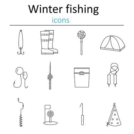 bait box: Set of linear web icons winter fishing. Accessories for fishing on the ice. Vector illustration.