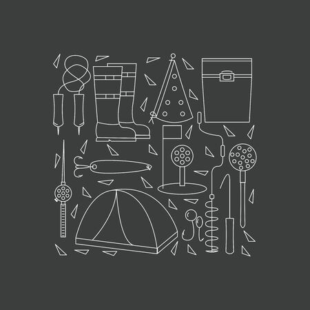 bait box: Icons of winter fishing arranged in a square. The poster or a banner with accessories for fishing on the ice. Vector illustration.