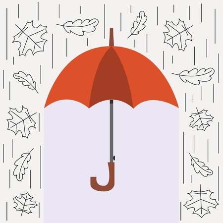 elementos de protecci�n personal: Autumn vector illustration. Personal protection from rain and snow. The image of the umbrella, rain and falling leaves in the style of the line.