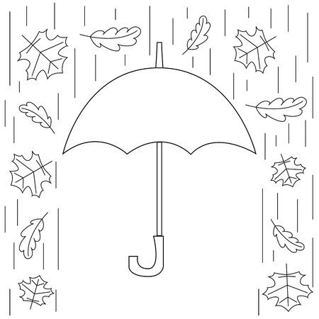 elementos de protecci�n personal: ilustraci�n vectorial oto�o. protecci�n personal de la lluvia y la nieve. La imagen del paraguas, la lluvia y las hojas que caen en el estilo de la l�nea. Vectores
