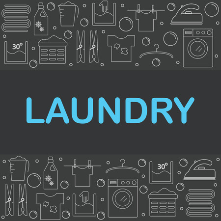bleach: Web icons set laundry. The poster or a banner in the style of the line on a dark background laundry. vector illustration.