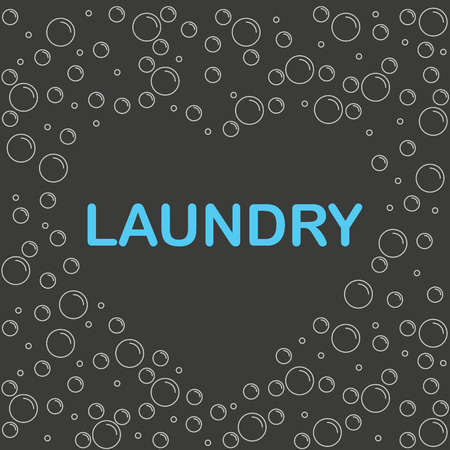 sudsy: The poster or a banner with bubbles and the word laundry inside the heart. Vector illustration. Illustration