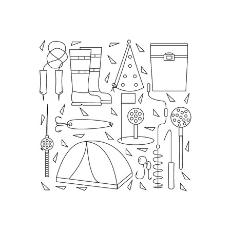 ice fishing: Icons of winter fishing arranged in a square. The poster or a banner with accessories for fishing on the ice. Vector illustration.