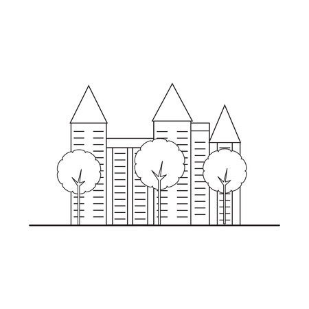 multistory: Element city. Multi-story house with trees. illustration.