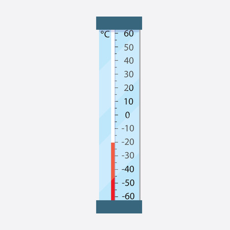Street thermometer shows minus the temperature in Celsius. Frost. illustration. Illustration