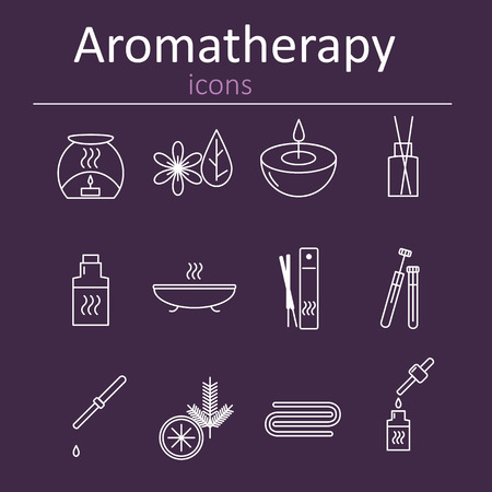 aromatherapy oil: Set of web icons for aromatherapy. Oil burner, Aromatic sticks, aroma oils, candles and other accessories for aromatherapy. illustration. Illustration